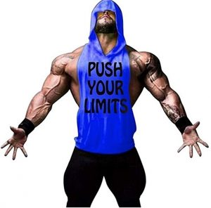 camiseta gym hombre push your limits azul