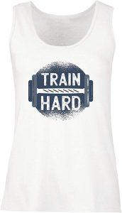 camiseta mujer gym train hard